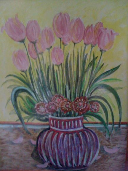 tablou cu lalele roz
