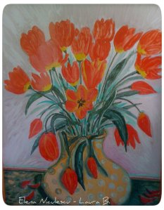 tablou cu lalele rosii1