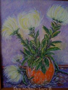 tablou crizanteme albe