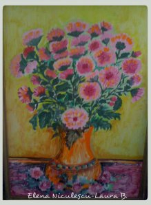 tablou crizanteme roz 12