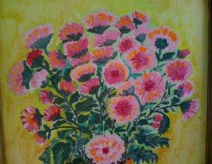 tablou crizanteme roz detaliu
