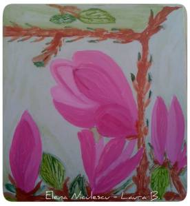 minitablou cu magnolie roz apr 14